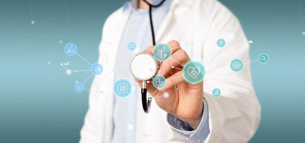 医療アイコンと接続3 dレンダリングを保持している実業家