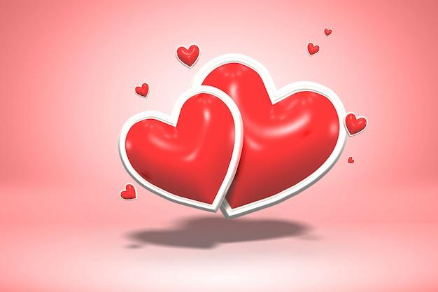 赤い光沢のある愛の光沢のある形の心、バレンタインデーのシンボルと結婚式の結婚、3 dのレンダリング