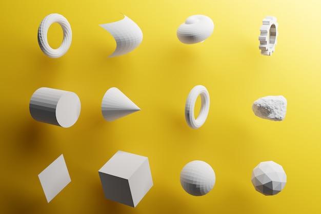 クローズアップ3 dモノクロイラスト。さまざまな幾何学的形状