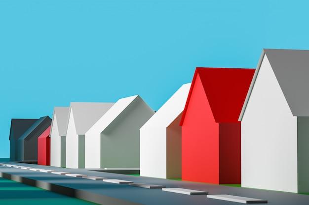 村の3 dイラストレーションの抽象的な表現。小さな典型的な白と赤の民家