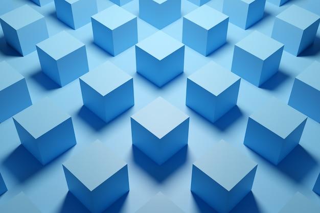 青い立方体の行の3 dイラストレーション。