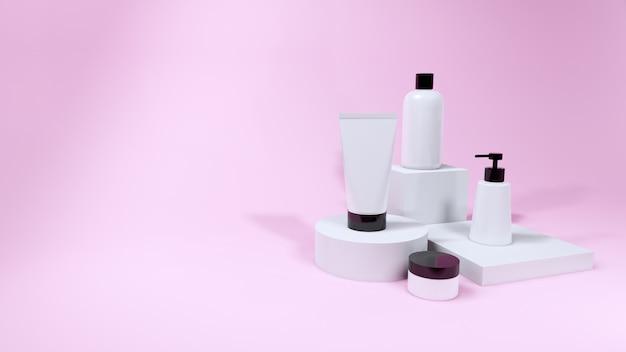 ピンクの背景、3 dレンダリングに設定化粧品ボトルモックアップ製品
