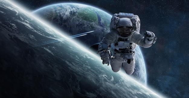 宇宙飛行士が宇宙に浮かぶ3 dレンダリング要素