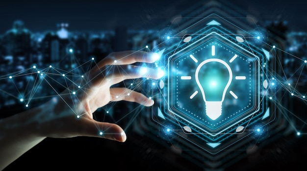 電球アイデアインターフェイス3 dレンダリングを使用して実業家