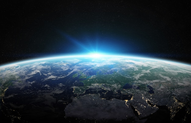 スペース3 dレンダリングで青い惑星地球の眺め