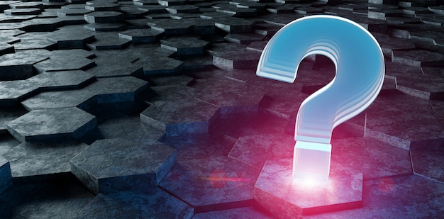 六角形の3 dレンダリングにブラックブルーピンクの質問アイコン