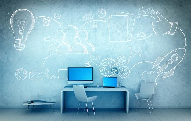オフィスの3 dレンダリングで手描きプロジェクトプレゼンテーションコンセプト