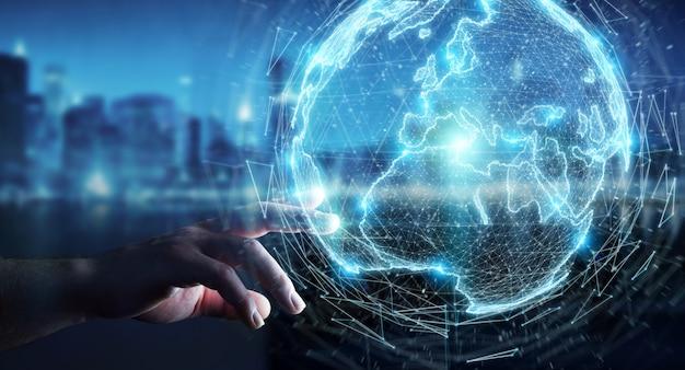 ヨーロッパ地図3 dレンダリングとグローブネットワークホログラムを使用しての実業家