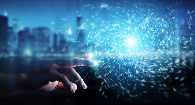 新しい未来的なエネルギー電源3 dレンダリングを作成するビジネスマン
