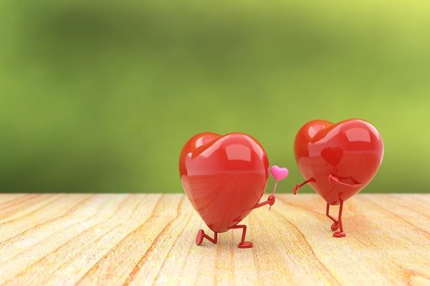愛の概念、3 dレンダリングとバレンタインデーの背景。