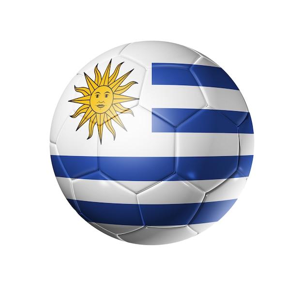 ウルグアイチームの旗を持つ3 dサッカーボール