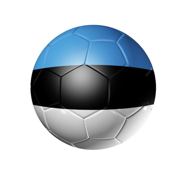 エストニアチームの旗を持つ3 dサッカーボール