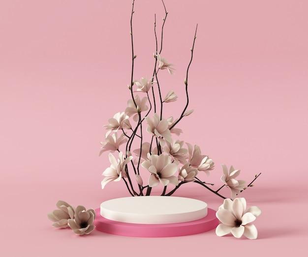 3 dレンダリング表彰台背景モックアップシーン、花植物。抽象的な幾何学形状のパステルカラー。最小限の幾何学的形状。製品のプレゼンテーションのための化粧品の背景。