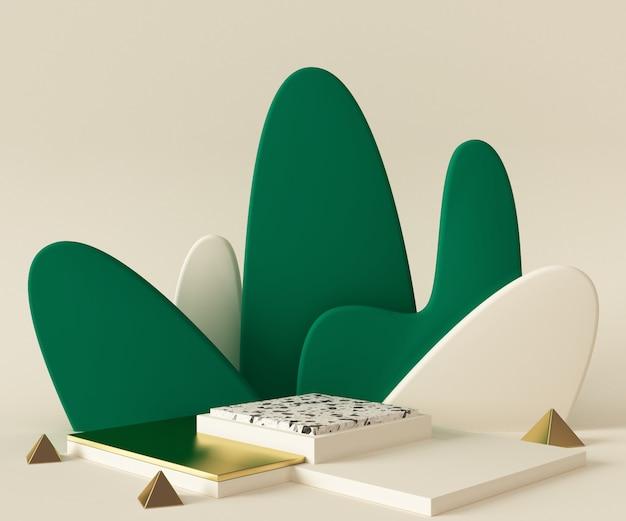 3 dレンダリング表彰台背景モックアップシーン。抽象的な幾何学形状のパステルカラー。