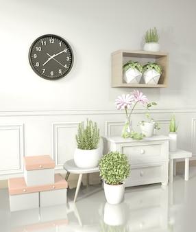 白い部屋の光沢のある床と装飾植物、3 dレンダリングに白いキャビネット