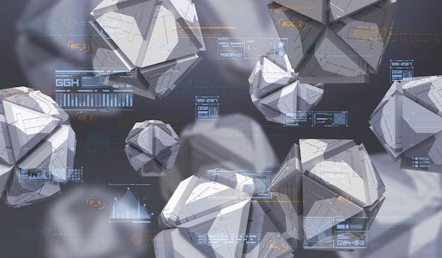 混沌とした幾何学的図形の抽象的な3 dレンダリング。ハイテク抽象的な要素を持つ未来的な組成物。