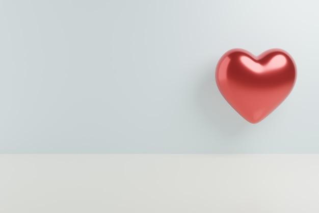 幸せなバレンタイングリーティングカードの灰色の背景に3 dハート