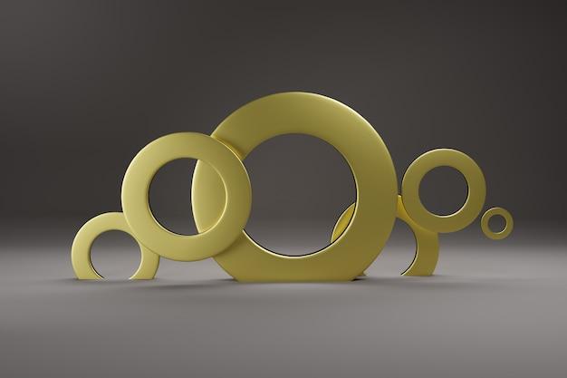 ミニマリズム、抽象的な幾何学的形状とフォームの背景3 dレンダリング。