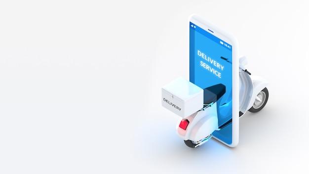 3 dレンダリングオンライン配信サービスのコンセプト、白いスクーター、分離されたコピースペースを持つ携帯電話等角図。クリッピングパス