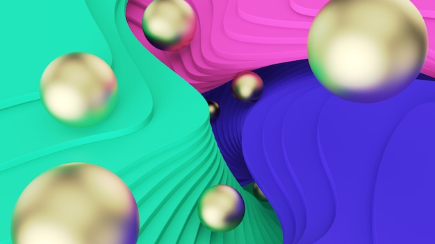 抽象的な背景ゴールデンボールは、緑、ピンク、青のステップで転がります。サイケデリックな現実とパラレルワールド。 3 dイラスト