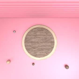木製のプラットフォームの3 dレンダリングの平面図