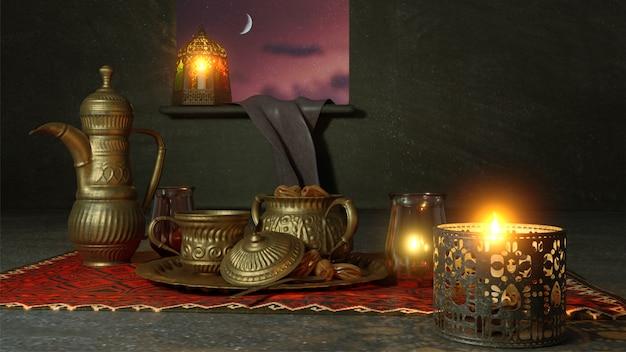 調理器具や夜景に照らされたランタンの3 dレンダリング