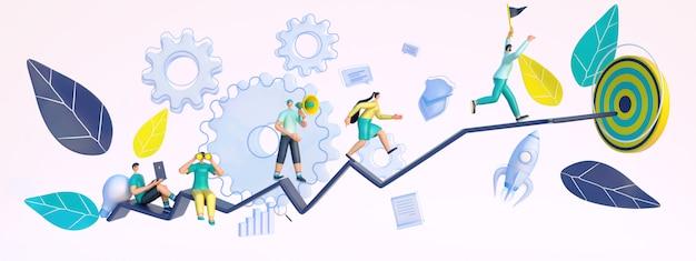 ターゲットを達成するために実行しているビジネスマンの3 dレンダリング。