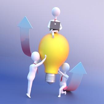成功のために座っているリーダーと電球を保持しているビジネス人々の3 dレンダリング。