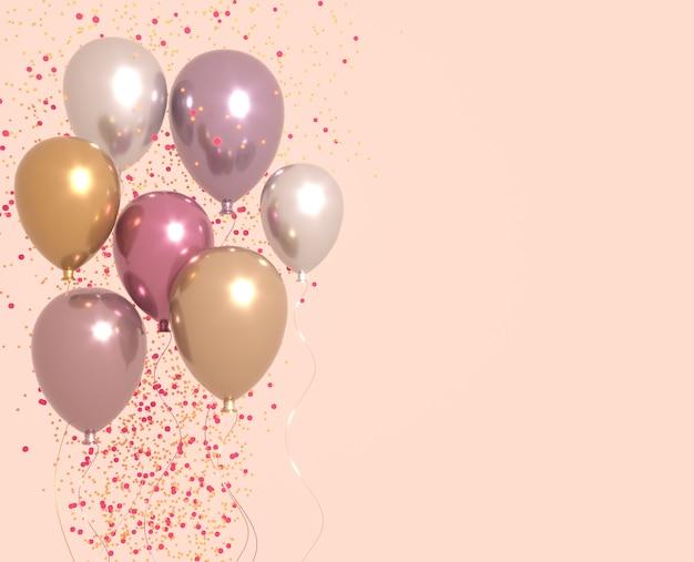 輝き、パーティーバックグラウンドでピンクと金色の光沢のある風船のセット。誕生日、パーティー、結婚式、プロモーションのバナーやポスターの3 dレンダリング。鮮やかでリアルなイラスト。