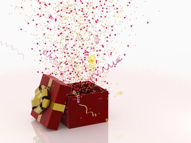 装飾と輝くパーティー紙吹雪、吹流しと白い背景の上の黄金の弓と赤いギフトボックス。お祝いまたは現在の3 dレンダリングのコンセプト。