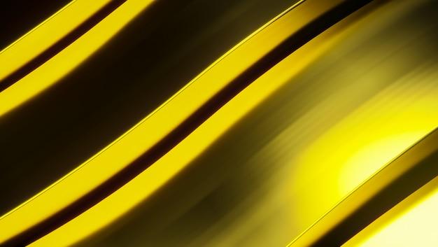 黄金の抽象的な金属の背景。未来の3 dレンダリング図。白い表面に金の金属。鋼のテクスチャ。黄色の背景。シニーメタル。