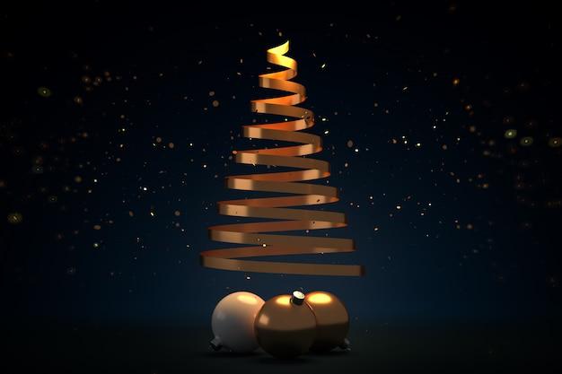 黄金の蛇紋岩のクリスマスツリーと輝くキラキラ-3 dイラストのボール