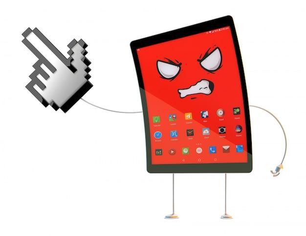 目に見えないオブジェクトを指している怒っているタブレットの漫画のキャラクター。 3 dイラスト。クリッピングパスが含まれています