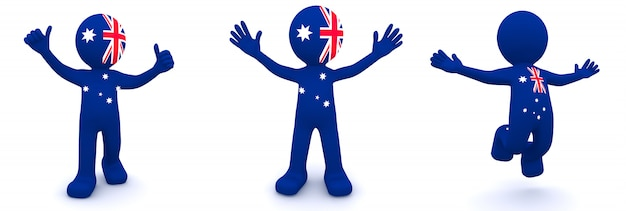 オーストラリアの旗のテクスチャの3 dキャラクター