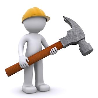 ハンマーで3 dの建設労働者