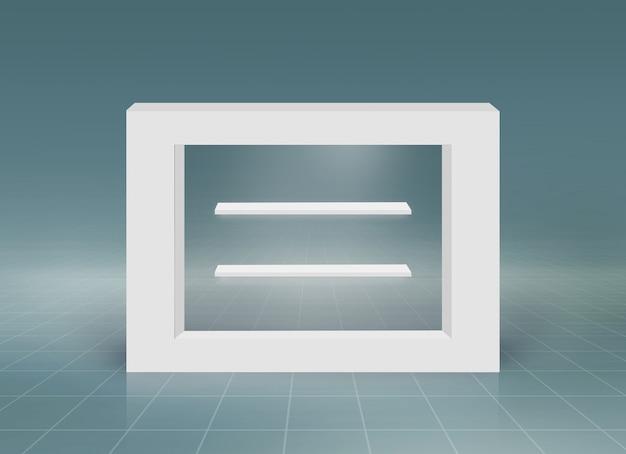 製品のプレゼンテーションのための空のカウンタートップと最小限の3 d長方形のフレーム