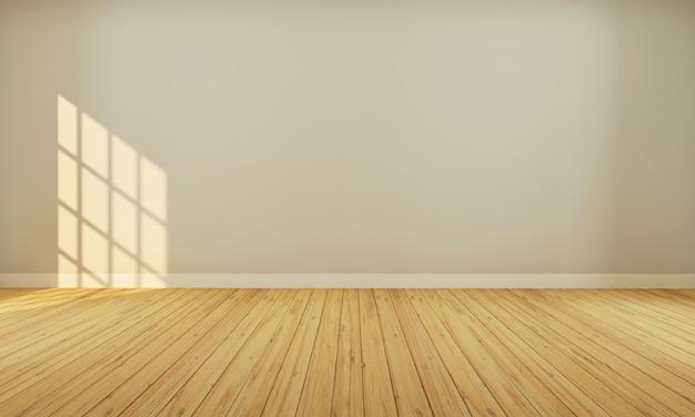 木製の床3 dレンダリングとベージュ色の壁と現実的なモダンな中立的な空の部屋のインテリアスペース