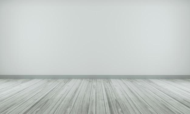 木製の床3 dレンダリングと灰色の色の壁と現実的なモダンな中立的な空の部屋インテリアスペース