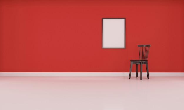 光沢のある床3 dレンダリングと栗色色の壁と現実的なモダンな中立的な空の部屋インテリアスペース