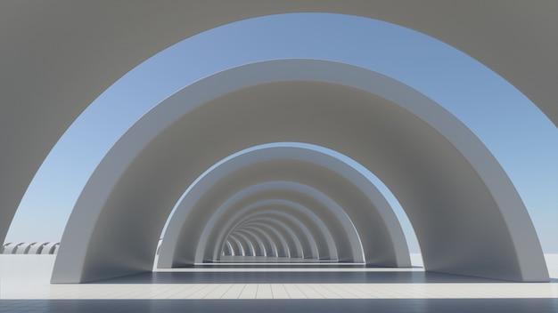 白の抽象的なアーキテクチャ、空のスペース、3 dレンダリング。
