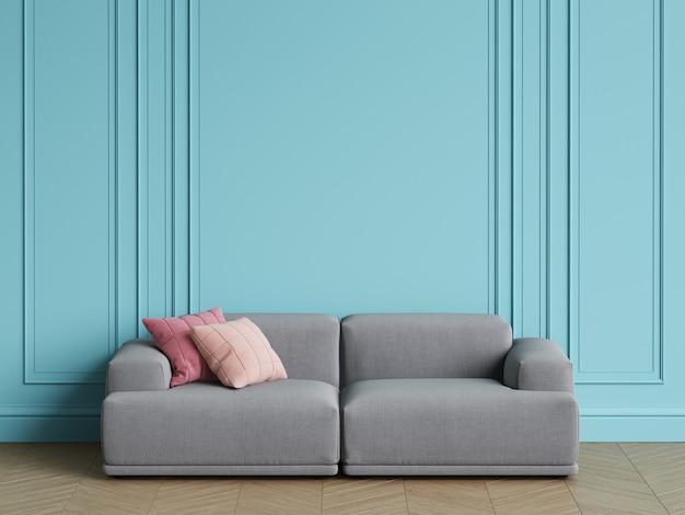 インテリアにモダンな北欧デザインのグレーのソファー。モールディング、床寄木細工のヘリンボーンと青い壁。コピースペース、3 dレンダリング