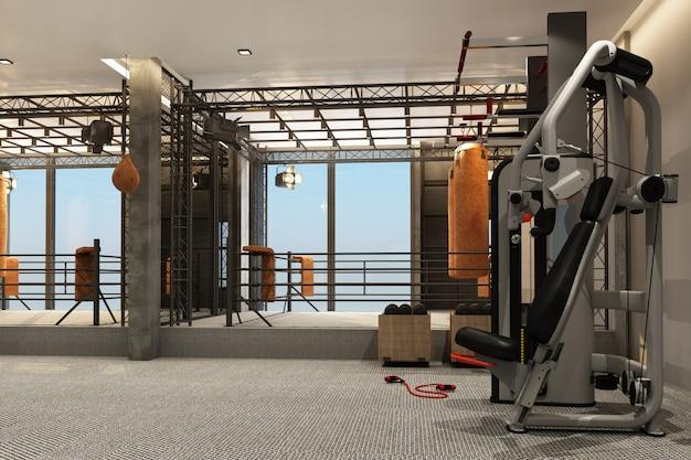 ボクシングリングボクシングジムでロフトスタイルの設備トレーニングとカーペットの床の3 dレンダリング
