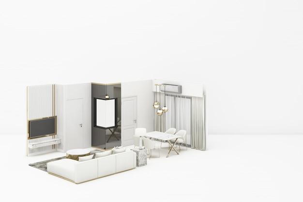 白い3 dレンダリングに白い家具とインテリアリビングモダンクラシックスタイル