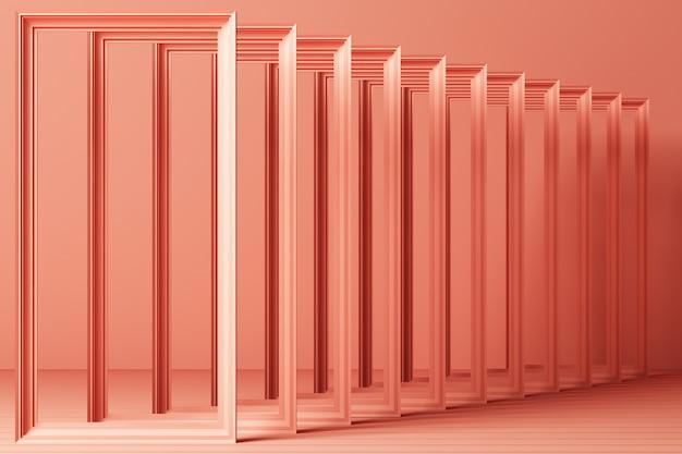 3 dレンダリング最小限のファッション背景アーチトンネル廊下ポータル視点ピンクミントパステルカラー
