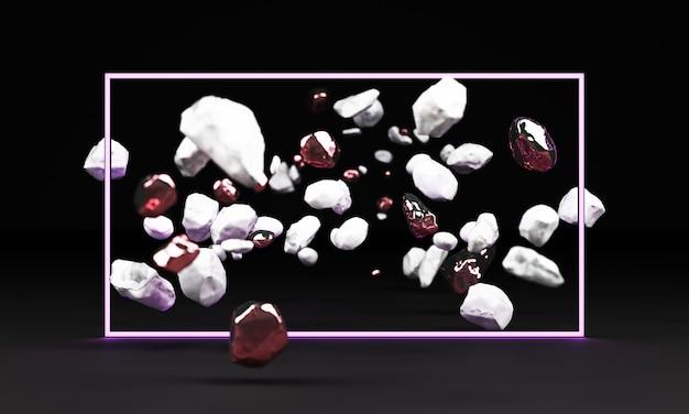 黒の背景に分離された白い大理石の台座の3 dレンダリング