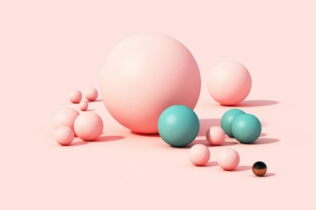 ピンクのパステル調の背景3 dのレンダリングにピンクの球体ボール