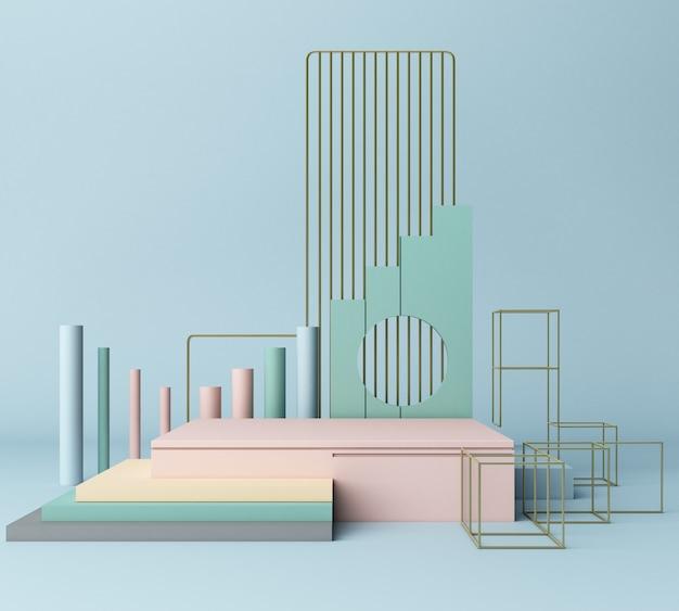 3 dレンダリングプリミティブ図形抽象的な幾何学的背景最小限