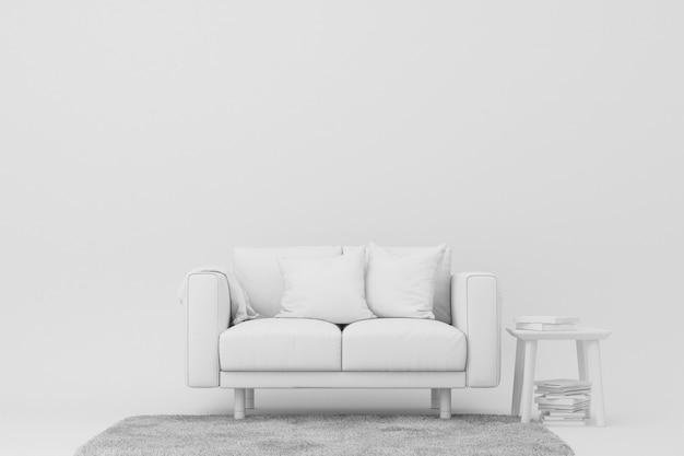 白いソファとサイドテーブルの3 dレンダリング