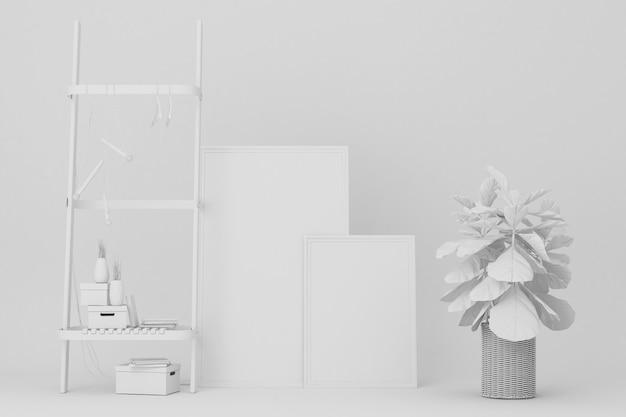 白い棚とアートワークの装飾3 dレンダリング