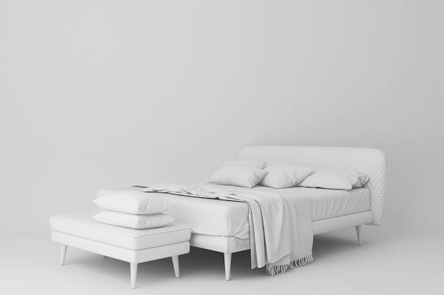 白いベッドと座席の3 dレンダリング
